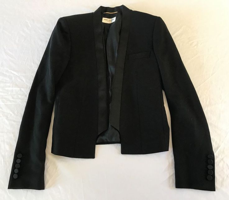 ~ SAINT LAURENT YSL BLACK CROPPED TUXEDO JACKET (FOREVER CLASSIC!)  38 #SaintLaurent #JACKET
