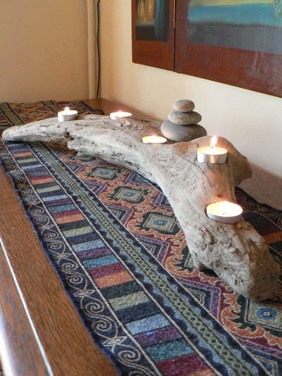 Rustic driftwood 5 candle mantle piece with rock cairn, tabletop driftwood votive candle holder,  beach decor