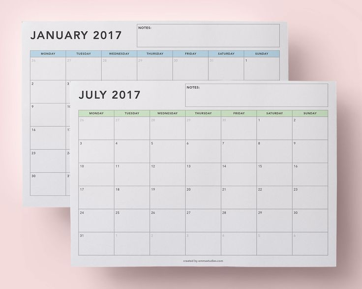2017 monthly calendar printables studyblr