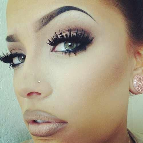 ♥♥ nose piercing (that's what mine will look like!) eyebrows and makeup ! She's beautiful!