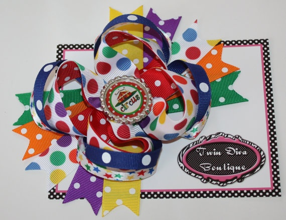 Polka Dot Circus Boutique bow by TwinDivaBoutique on Etsy, $9.00: Bows Shops, Circus Boutiques, Boutique Bows