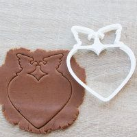 """Cookie cutter """"Heart with birds"""" 13 cm"""