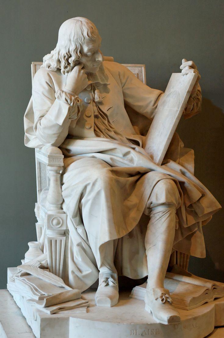 Statue de Blaise Pascal, réfléchissant au problème de la Cycloïde (1785), musée du Louvre