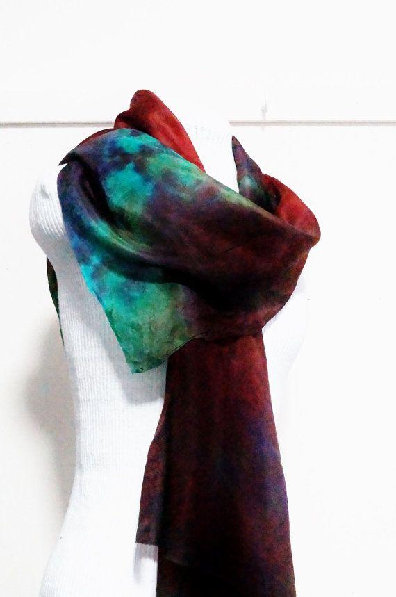 muliti colour pure silk scarf by Memzwear on Etsy, £20.20