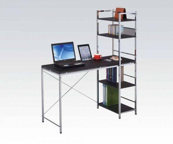 Elvis Black Chrome Wood PVC Metal Computer Desk w/Shelves