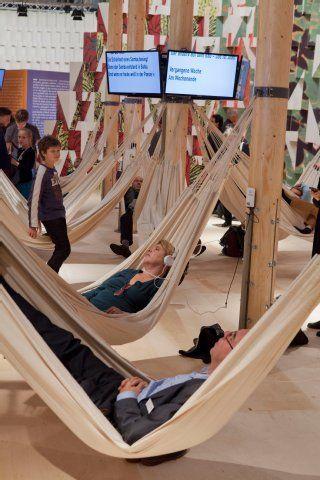 The Brasilian Pavilion on the book fair 2013 in Frankfurt came with hammocks