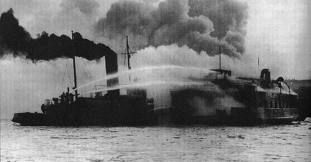 Ships smoking in Halifax Harbour on December 6, 1917