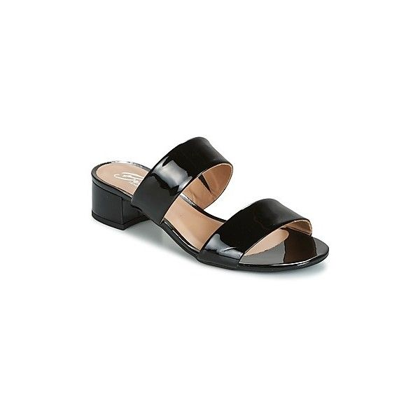 Betty London BAMALEA Mules (105 AUD) ❤ liked on Polyvore featuring shoes, sandals, black, leather mules, black summer sandals, black leather mules, summer sandals and black leather shoes