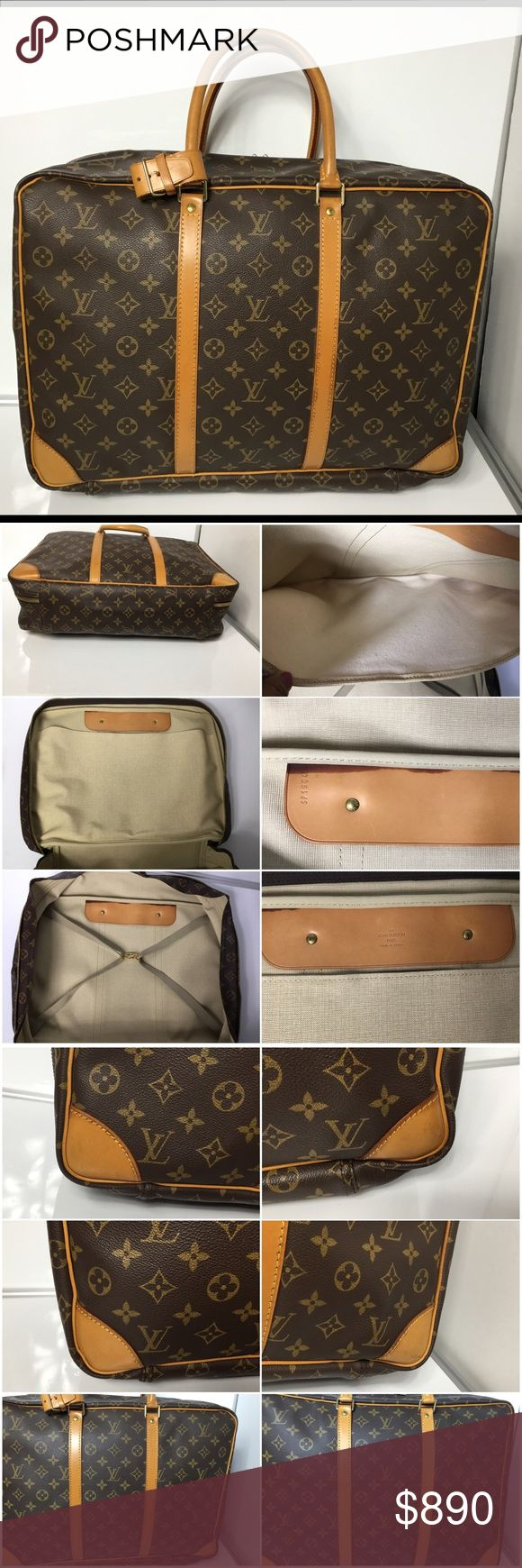 100% Authentic Louis Vuitton Monogram Sirius 45 100% Authentic Louis Vuitton Monogram Sirius 45 comes with Extender, Lock and Key Traveling Bag Pre-Owned Bag in very good used condition. Inside has stains. ( see pictures ) no rip, no stain on the canvas. Strap, Handle, Leather has stain, marks and normal sign of use. MADE IN FRANCE - DATE CODE SP1904 ( October 1994 )  Please check all the pictures. -In order to avoid unnecessary return. 100% authentic or your money back - no return sold as…