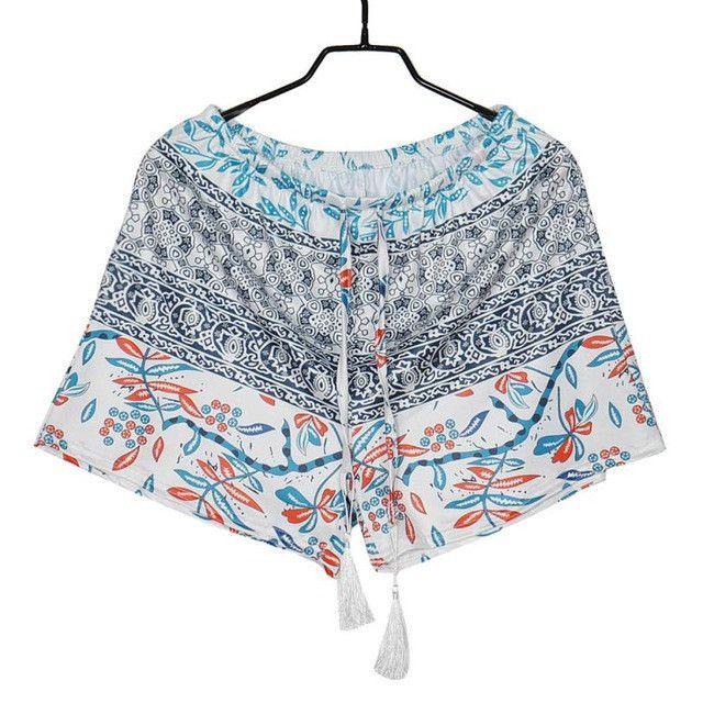Summer Shorts Women Stylish Tassel Drawstring High Waist Printing Shorts Beach Style #2725