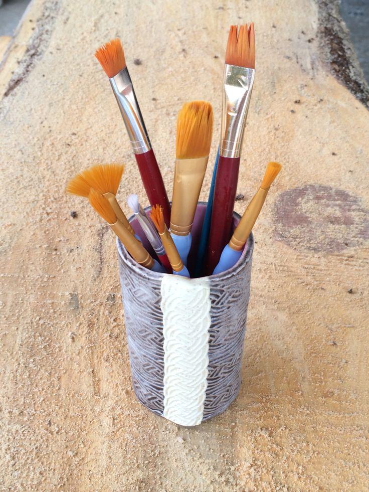 Vase Paint Brush Holder Duncan Courtyard Art Glazes Lava Slate My Pottery Pinterest