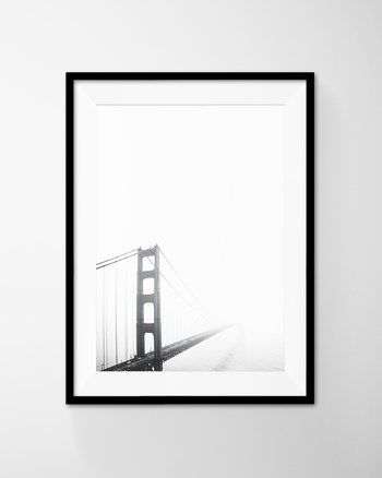 San Francisco Golden Gate Bridge Poster Art Printable Art. Black and White Minimal Photography from DEERxBEAR at www.printablez.ca