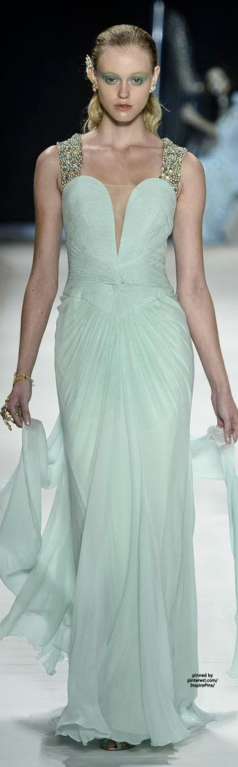Victor Dzenk ~ SS2015..Love this gown but not too crazy about her eye make-up....she def needs some color