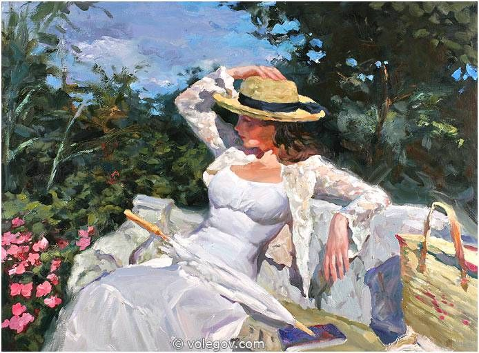 THE WHITE BENCH, painting,