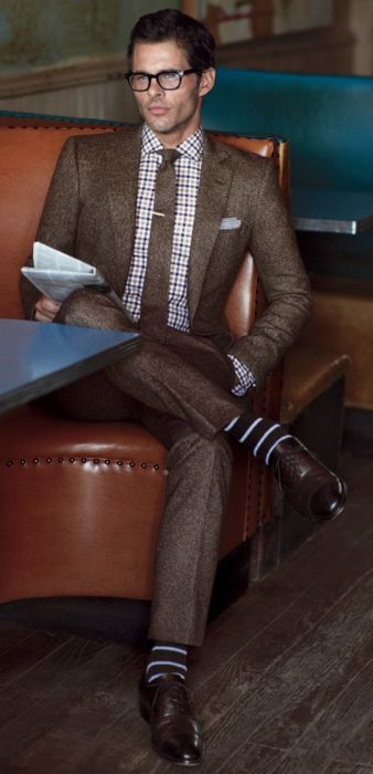 James Marsden // Dapper brown suit. Brown shoes and tie have got to go. This outfit needs a pair of black shoes with non-dyed a natural or a brown leather sole