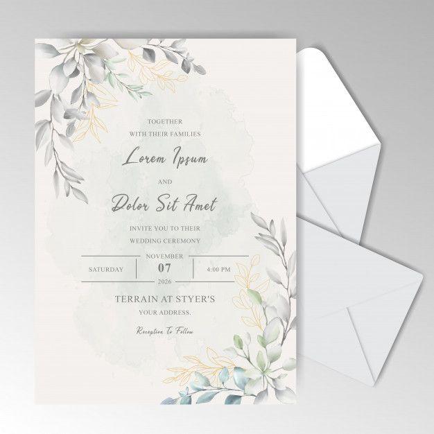Elegant Watercolor Wedding Invitation Cards With Beautiful Leaves Wedding Invitations Elegant Simple Floral Wedding Invitation Card Wedding Invitation Cards