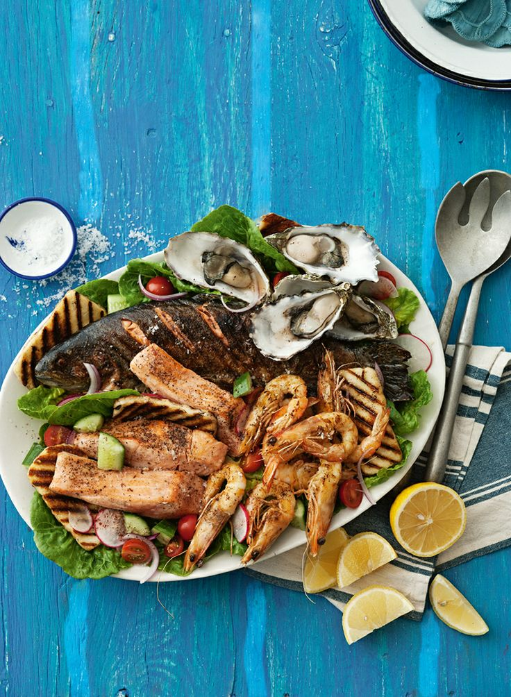 Barbecued Seafood With Haloumi Salad.  http://www2.woolworthsonline.com.au/Shop/RecipeCategory/200#url=/Shop/Recipe/2741%3Fname%3Dbarbecued-seafood-with-haloumi-salad  #Woolworths #Recipe #Salad #Seafood #Easter