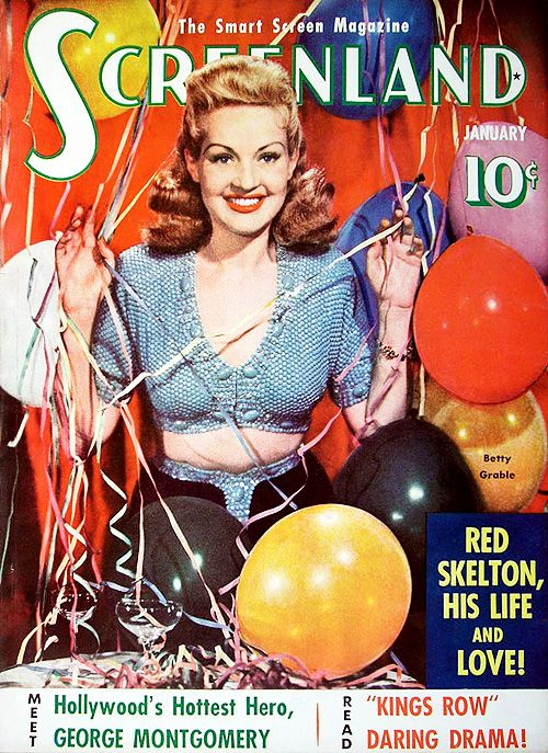 Betty Grable on the cover of the January 1942 issue of Screenland magazine.Betty Grable, Vintage Hollywood, January 1942, Girls Betty, 1942 Screenland, Movie Stars, Movie Magazines, Magazines Covers, Screenland Magazines