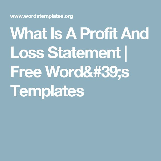 What Is A Profit And Loss Statement | Free Word's Templates