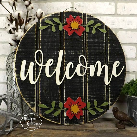 Welcome Sign For Front Door Year Round Door Sign Welcome Etsy Welcome Signs Front Door Wooden Door Hangers Door Decorations