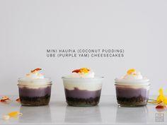 Ka'ana Kitchen's Mini Haupia (Coconut Pudding) Ube (Purple Sweet Potato) Cheesecake Recipe SLIGHTLY ADAPTED FROM Akira Kumada's Haupia Molokai Sweet Potato Cheesecake