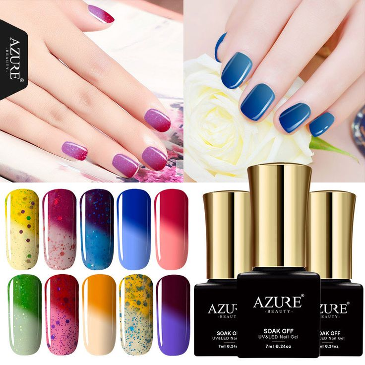 Good Azure ML Salon Color Gel Nail Lacquer DIY Nail Art Glitter Nail Gel Polish Temperature Chameleon