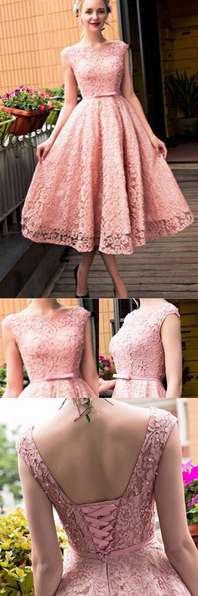 Pink Lace Homecoming Dress,Mid Prom Dress,Tea Length Bridesmaid Dress2017 HCD22 Wedding Gowns, Cheap Wedding Dress, Beach Wedding Dress, Formal Dress, Bridesmaid Dress, Simple Wedding Dress.