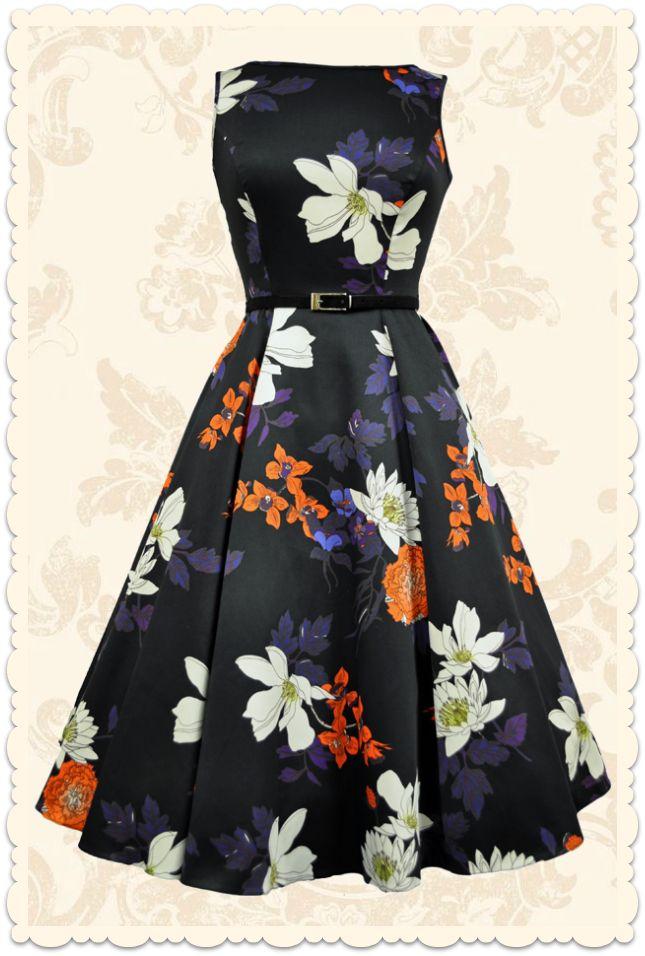 Robe rétro années 50 Hepburn fleurs style vintage noir - Toutes les robes/Robes évasées - Lady Vintage - missretrochic.com