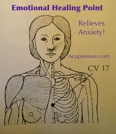 EMOTIONAL HEALING - Relieve anxiety with point CV 17. Hold it as you breathe deeply & explore what you want in your life. Continue asking & holding while you slowly breathe deeper until an answer comes. Write it down, then edit it; structure it & create steps for it to happen. CV 17 can give you courage to explore what's in your heart, support you to love & heal yourself. Breathe deeply to gather the energy & the faith to create what you want to manifest in your life.