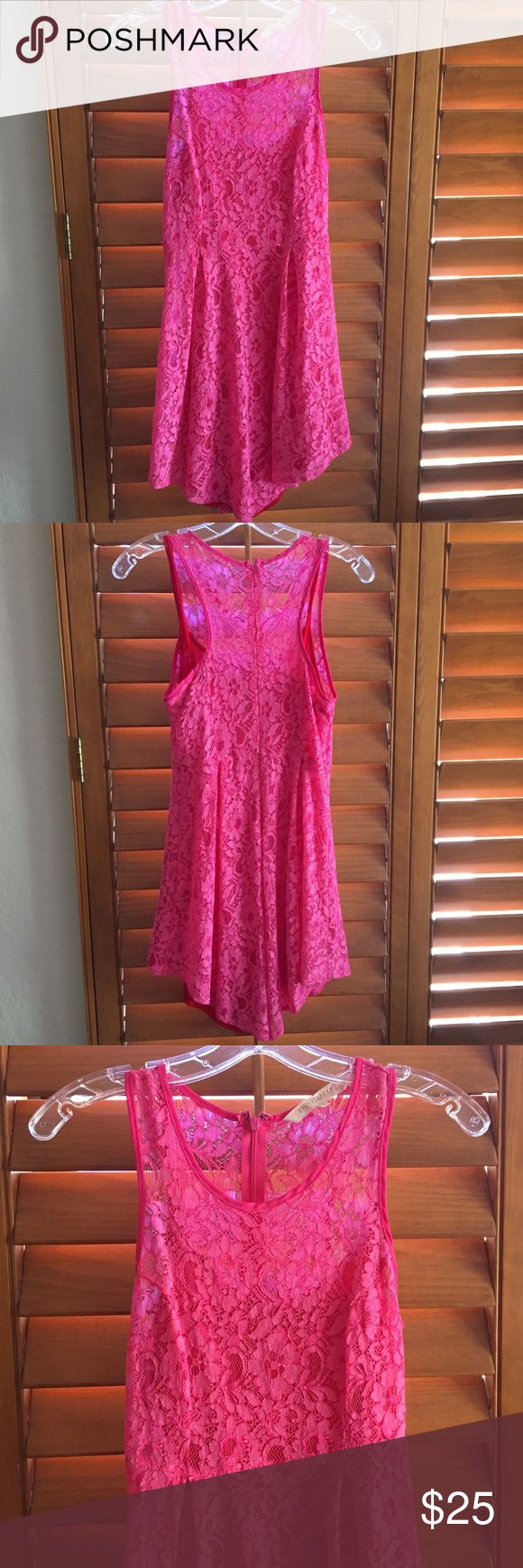 Pink thistlepearl lace racerback dress