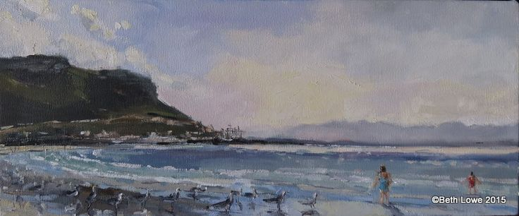 Gulls Fish Hoek morning 250x600mm Oil on canvas Beth Lowe