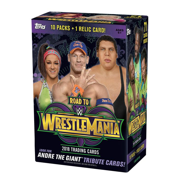 10 Packs + 1 Relic Card Per Box 	7 Cards Per Pack   Featuring the year's greatest matches and moments in WWE, including WrestleMania 33! Each pack also includes two WrestleMania Roster Cards! Look for Andre the Giant Tribute Cards! 1 Relic Card Per Box – look for Superstar-Worn Shirt Relics, Event-Used WrestleMania 33 Mat Relics, Kiss Cards, Superstar Autographed Relic Cards and more!