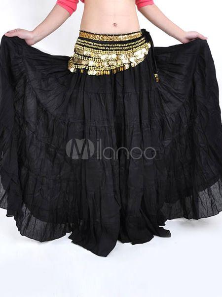 Bohême noir jupe en lin de chanvre danse du ventre-No.3