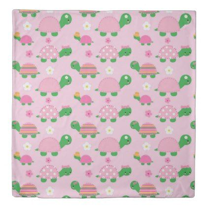 Cute Green Turtle on Colorful Pink Duvet Cover - kids kid child gift idea diy personalize design