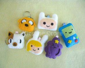Chaveiros de Hora de aventura em feltro! :D (Adventure Time keychains) on felt!                                                                                                                                                                                 Mais