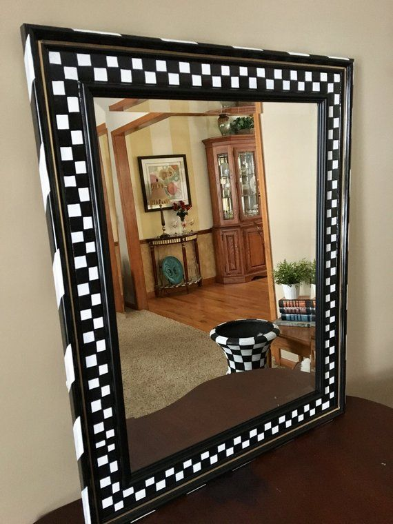 Whimsical Painted Mirror Painted Wall Mirror Black And White Checkered Wall Mirror Hand Pa Painting Mirror Frames Mirror Painting Mackenzie Childs Furniture