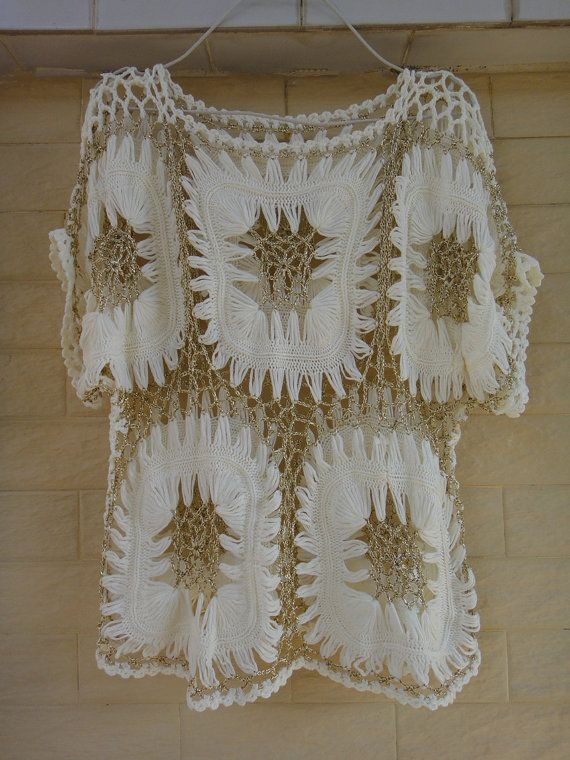 Ivory and Gold Sheer Womens Tunic Blouse Crochet Top Boho Clothing Hairpin Crochet Pattern