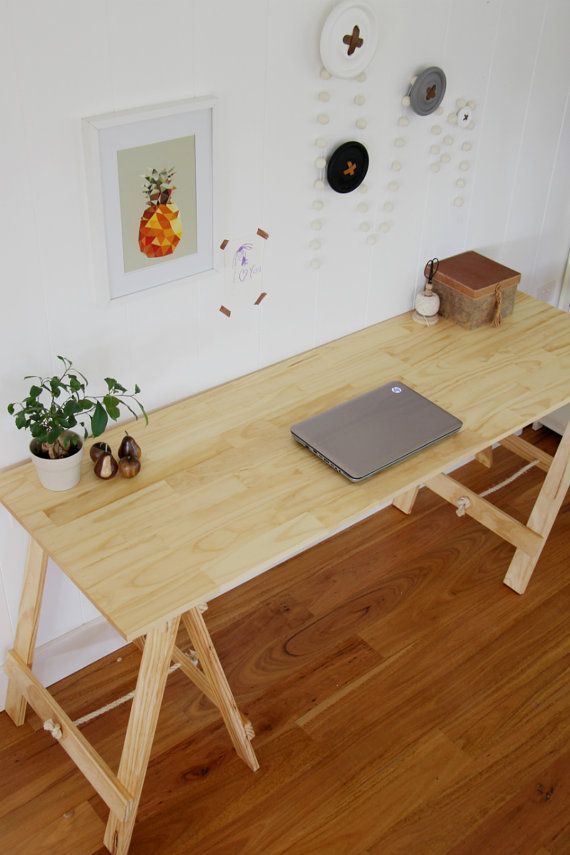 Traditional Pine trestle table desk dining by PlankandTrestle// TO REPLACE MY CURRENT TABLE