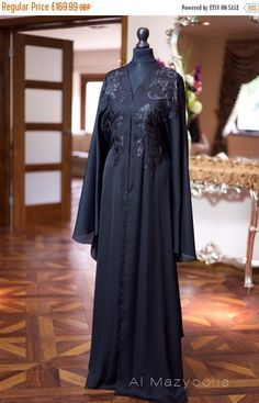 ON SALE Al Mazyoona Black Embroidered Party Wedding Bisht Abaya Dubai Arabic Jalabiya Khaleeji Kaftan Maxi by Almazyoona on Etsy https://www.etsy.com/listing/240144005/on-sale-al-mazyoona-black-embroidered