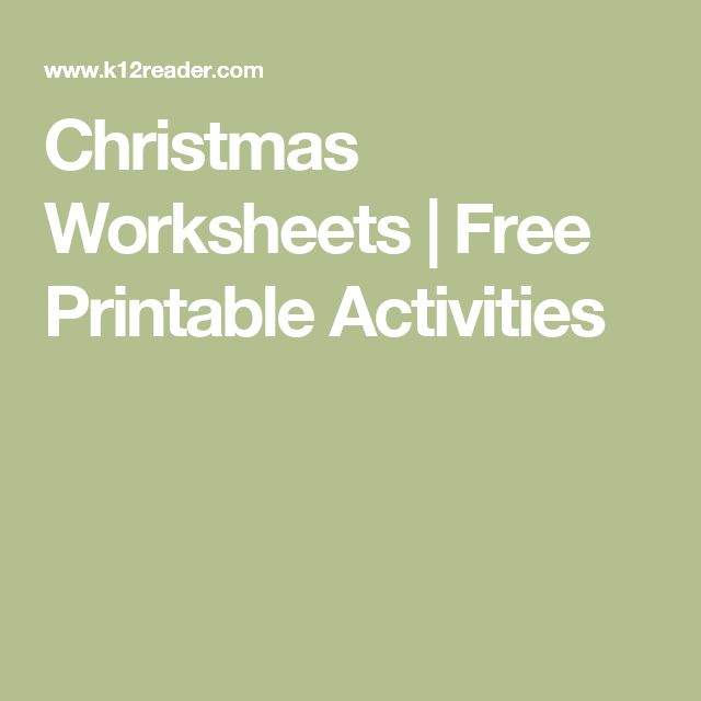 Christmas Worksheets | Free Printable Activities