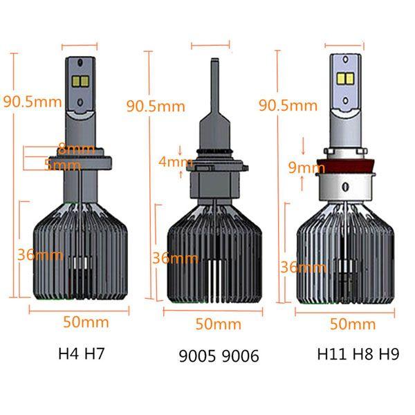 1Pair 90W 9000LM 6000K H4 H7 H11 LED Headlight Bulbs Conversion Kit Sale - Banggood.com