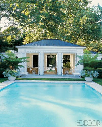 Home of Aerin Lauder: Poolhouse also functions as a rainy-day playroom and has a retractable awning to shade the terrace.