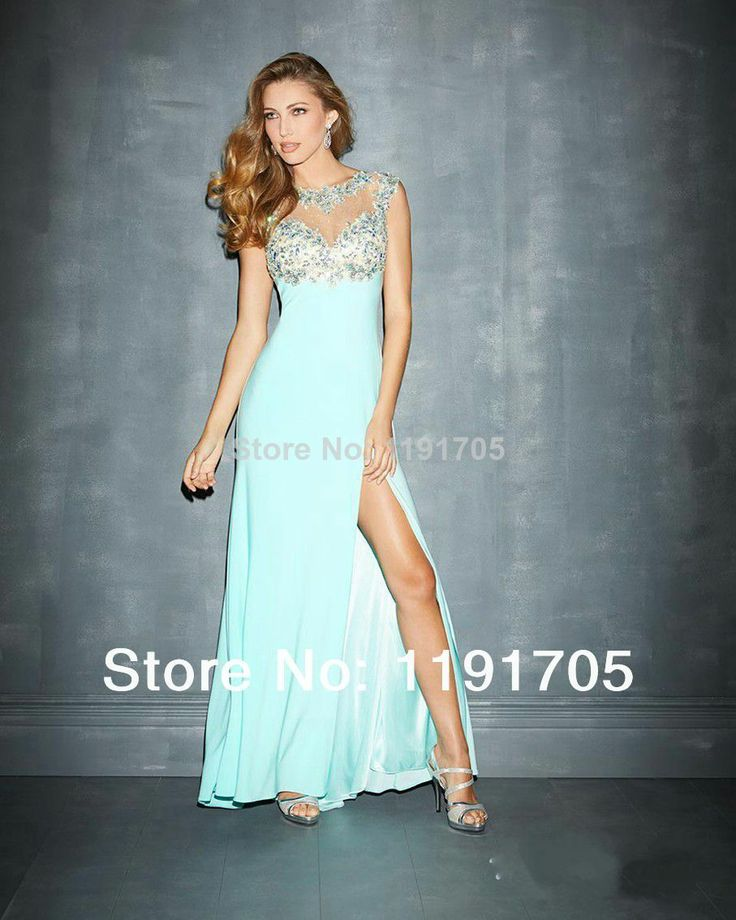 Free shipping Sexy High Beaded Blue Prom dress 2014 Slitted Floor Length Evening Gowns 2014 New Fashion $129.00