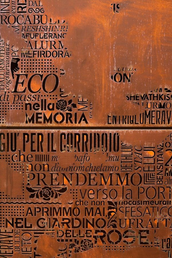 A Venice Palazzo Façade Made of 22 Typographic Fonts and Corten Steel—FIVE THOT discover ideas, people, views, lifestyles and business