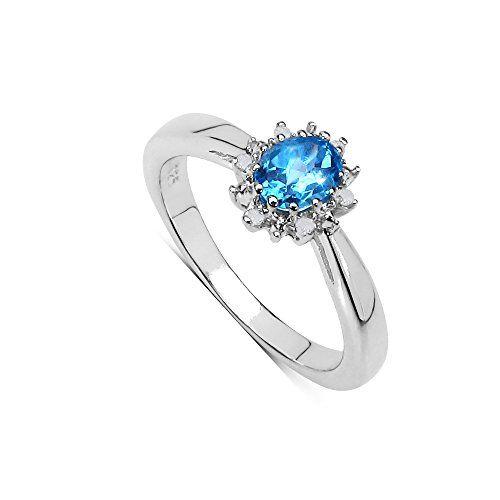 925 Sterling Argent Naturel Topaze Bleue anneau Prong Set Bijoux taille 3 US 13
