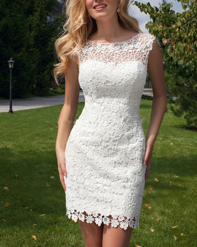 2016 New Scoop Sheath Wedding Dresses Short Lace Cap Sleeve Detachable Trian Tulle Bridal Dresses