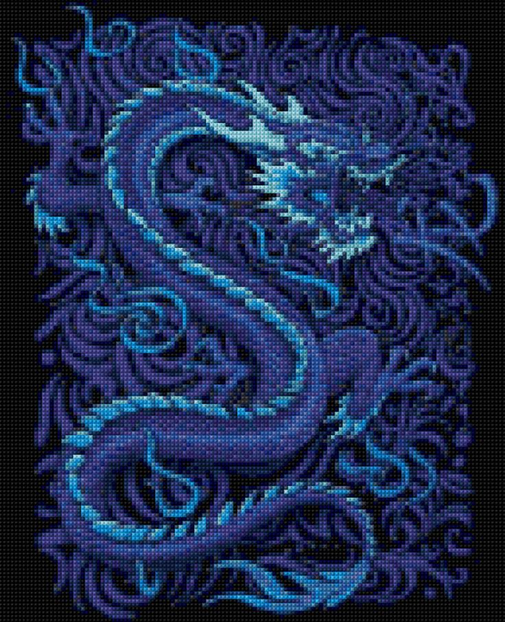 Blue Dragon Cross Stitch pattern PDF - EASY chart with one color per sheet AND traditional chart! Two charts in one! by HeritageChart on Etsy