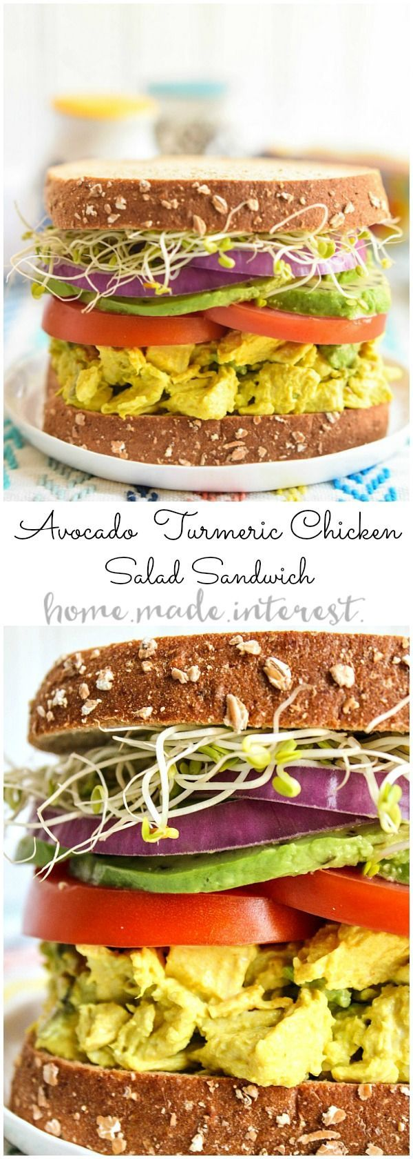 This wholesome sandwich is a healthy lunch recipe that is filled with flavor. The turmeric chicken salad base is mashed with avocados to make a creamy lunch salad that is healthy and full good fats. The avocado turmeric chicken salad is sandwiched between two pieces of sprouted bread for a filling lunch recipe! HarvestBlends | ad