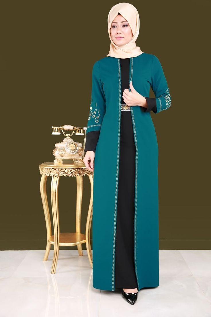 ** SONBAHAR / KIŞ ** Çift Renkli Tesettür Elbise  Petrol&Siyah Ürün kodu: YGS6023---> 159.90 TL
