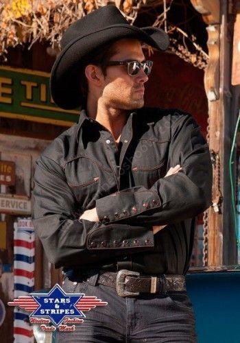 Corbeto's Boots   50-JACK Black   Camisa western retro Stars & Stripes color negro para hombre, nuestro best seller!   Stars & Stripes mens black western retro shirt, our best seller!!